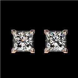 1 CTW Certified Quality Princess Genuine Diamond Stud Earrings 10K Rose Gold - 33064-REF#106G2M