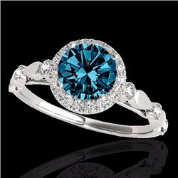 1.25 CTW Certified Fancy Blue Genuine Diamond Solitaire Halo Ring 10K White Gold - 33621-REF#100K8R