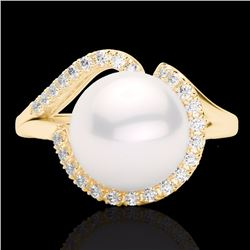 0.27 CTW Diamond Certified & White Pearl Designer Ring 18K Yellow Gold - 22624-REF#42G3M