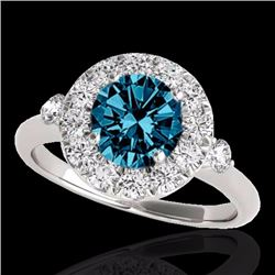 1.50 CTW Certified Fancy Blue Genuine Diamond Solitaire Halo Ring 10K White Gold - 33459-REF#122K5R