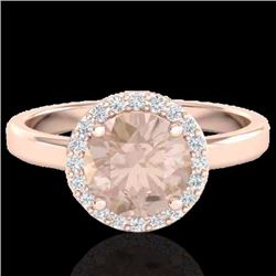 1.50 CTW Morganite & Halo Diamond Micro Ring Solitaire Bridal 14K Rose Gold - 21633-REF#54X8Y
