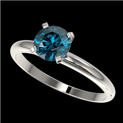 1.02 CTW Certified Intense Blue Genuine Diamond Solitaire Engagement Ring 10K White Gold - 36410-REF