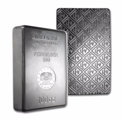 One piece 100 oz 0.999 Fine Silver Bar Geiger Security Line Series