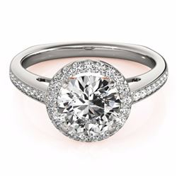1.30 CTW Certified Black Genuine Diamond Solitaire Halo Ring 10K White & Rose Gold - 34339-REF#59X5Y
