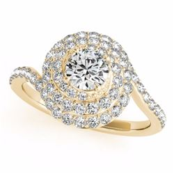 1.86 CTW Certified G-I Genuine Diamond Bridal Solitaire Halo Ring 10K Yellow Gold - 34506-REF#134M8G