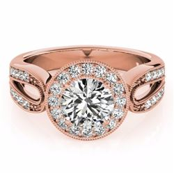 1.40 CTW Certified Fancy Intense Genuine Diamond Solitaire Halo Ring 10K Rose Gold - 34566-REF#124Y3