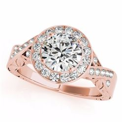 1.75 CTW Certified Fancy Blue Genuine Diamond Solitaire Halo Ring 10K Rose Gold - 34528-REF#180Y5X