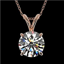 1.28 CTW Certified H-I Quality Genuine Diamond Solitaire Necklace 10K Rose Gold - 36777-REF#110X2Y