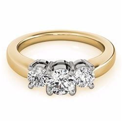 2 CTW Certified G-I Genuine Diamond 3 Stone Bridal Solitaire Ring 10K Yellow Gold - 35441-REF#220F2N