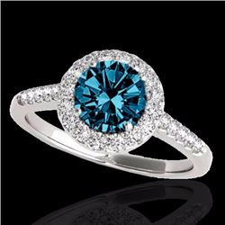 2 CTW Certified Fancy Blue Genuine Diamond Bridal Solitaire Halo Ring 10K White Gold - 33495-REF#181