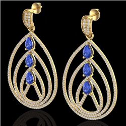 4 CTW Tanzanite & Micro Pave Diamond Certified Designer Earrings 18K Yellow Gold - 22463-REF#207Z8T