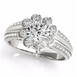 2.05 CTW Certified G-I Genuine Diamond Bridal Solitaire Halo Ring 10K White Gold - 34477-REF#333H2W