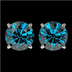 2.50 CTW Certified Intense Blue Genuine Diamond Solitaire Stud Earrings 10K White Gold - 33106-REF#2