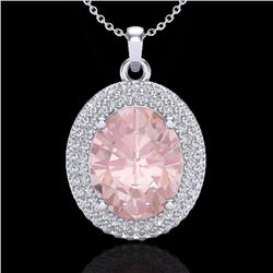 4.50 CTW Morganite & Micro Pave Diamond Certified Necklace 18K White Gold - 20568-REF#116N8F