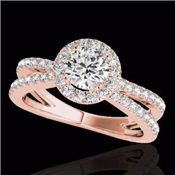 2 CTW Certified G-I Genuine Diamond Bridal Solitaire Halo Ring 10K Rose Gold - 33856-REF#157G3M