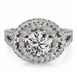 1.75 CTW Certified G-I Genuine Diamond Bridal Solitaire Halo Ring 10K White Gold - 34283-REF#143W2H