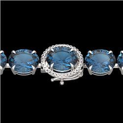 49 CTW London Blue Topaz & Micro Diamond Halo Bracelet 14K White Gold - 22266-REF#131W4H