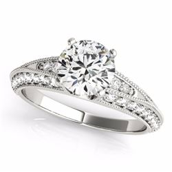 1.58 CTW Certified G-I Genuine Diamond Solitaire Bridal Antique Ring 10K White Gold - 34621-REF#116H