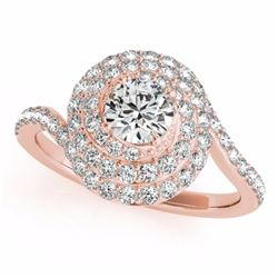 2.11 CTW Certified Black Genuine Diamond Bridal Solitaire Halo Ring 10K Rose Gold - 34517-REF#88F8N