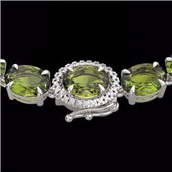 66 CTW Green Tourmaline & Diamond Tennis Micro Halo Necklace 14K White Gold - 23465-REF#380W9H