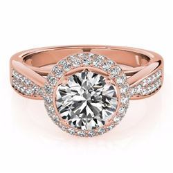 2.15 CTW Certified Fancy Blue Genuine Diamond Solitaire Halo Ring 10K Rose Gold - 34420-REF#184T8Z
