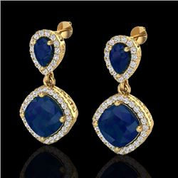 7 CTW Sapphire & Micro Pave Diamond Certified Earrings Designer Halo 10K Yellow Gold - 20210-REF#74A