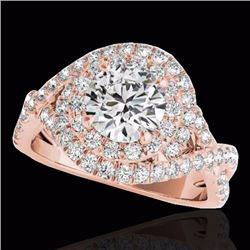 2 CTW Certified G-I Genuine Diamond Bridal Solitaire Halo Ring 10K Rose Gold - 33874-REF#163Y4X