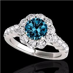 2.35 CTW Certified Fancy Blue Genuine Diamond Solitaire Halo Ring 10K White Gold - 33549-REF#155A5V