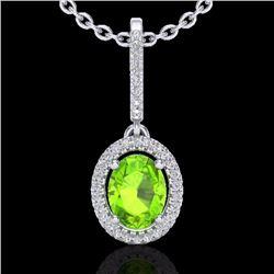 2 CTW Peridot & Micro Pave Diamond Necklace Solitaire Halo 18K White Gold - 20665-REF#49Z6T