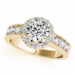 2.10 CTW Certified G-I Genuine Diamond Bridal Solitaire Halo Ring 10K Yellow Gold - 34542-REF#167Y3X