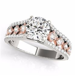 1.45 CTW Certified Fancy Intense Genuine Diamond Solitaire Ring 10K White & Rose Gold - 35284-REF#11