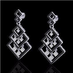 3 CTW Micro Pave Black & White Diamond Certified Earrings 14K White Gold - 22487-REF#199M9G
