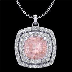 1.50 CTW Morganite & Micro Diamond Certified Halo Necklace 18K White Gold - 20460-REF#66T2Z