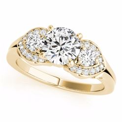 1.70 CTW Certified G-I Genuine Diamond 3 Stone Bridal Ring 10K Yellow Gold - 35342-REF#144X3Y