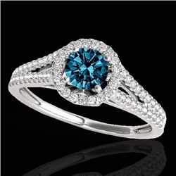 1.30 CTW Certified Fancy Blue Genuine Diamond Solitaire Halo Ring 10K White Gold - 33887-REF#109R5K
