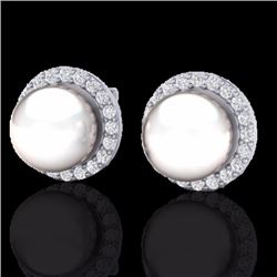 0.50 CTW Micro Pave Halo Diamond Certified & White Pearl Earrings 18K White Gold - 21506-REF#50R3K