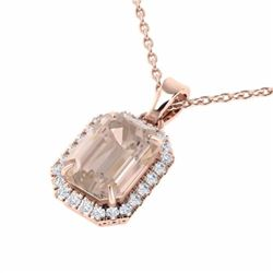 4.50 CTW Morganite And Micro Pave Diamond Halo Necklace 14K Rose Gold - 21363-REF#103H2W