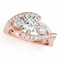 1.76 CTW Certified Fancy Blue Genuine Diamond Bypass Solitaire Ring 10K Rose Gold - 35042-REF#149M8G