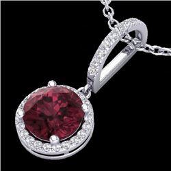 2.75 CTW Garnet & Micro Pave Diamond Necklace Designer Halo 18K White Gold - 23197-REF#33G3M