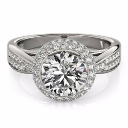 2.15 CTW Certified Fancy Intense Genuine Diamond Solitaire Halo Ring 10K White Gold - 34421-REF#184Y