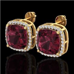 12 CTW Garnet & Micro Pave Halo Diamond Earrings Solitaire 18K Yellow Gold - 23065-REF#74W8H