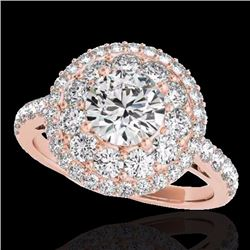 2.09 CTW Certified G-I Genuine Diamond Bridal Solitaire Halo Ring 10K Rose Gold - 33689-REF#153N5F