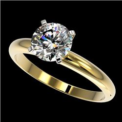 1.55 CTW Certified H-I Quality Genuine Diamond Solitaire Engagement Ring 10K Yellow Gold - 36439-REF