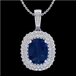 3.15 CTW Sapphire & Micro Pave Diamond Certified Halo Necklace 18K White Gold - 20419-REF#64G2M