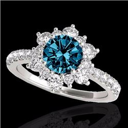 2.19 CTW Certified Fancy Blue Genuine Diamond Solitaire Halo Ring 10K White Gold - 33720-REF#162Y8X