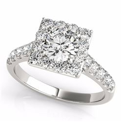 2.50 CTW Certified Fancy Blue Genuine Diamond Solitaire Halo Ring 10K White Gold - 34146-REF#203V8A