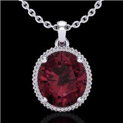 11 CTW Garnet & Micro Pave Diamond Certified Halo Necklace 18K White Gold - 20612-REF#75A8V