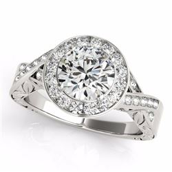 1.75 CTW Certified G-I Genuine Diamond Bridal Solitaire Halo Ring 10K White Gold - 34522-REF#330Y5X