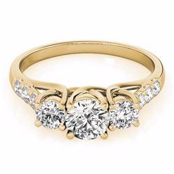 3.25 CTW Certified G-I Genuine Diamond 3 Stone Bridal Ring 10K Yellow Gold - 35450-REF#575W2H