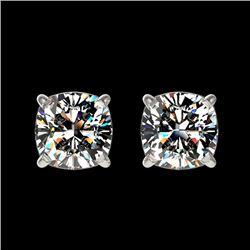 1 CTW Certified Quality Cushion Cut Genuine Diamond Stud Earrings 10K White Gold - 33066-REF#106K2R